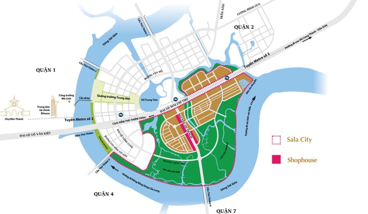 vị trí nhà phố biệt thự sala
