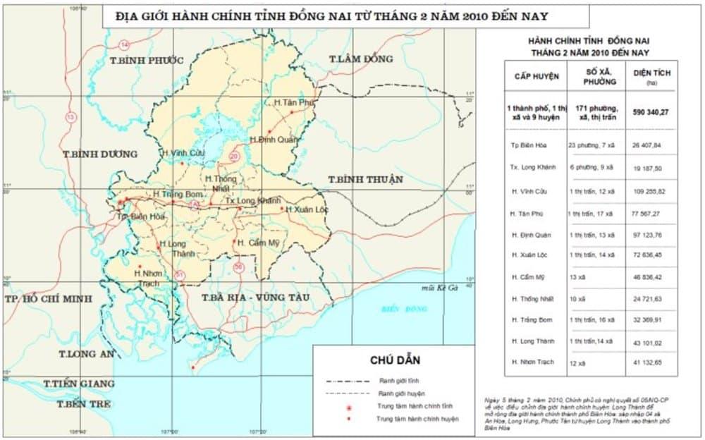 địa giới hành chính tỉnh đồng nai