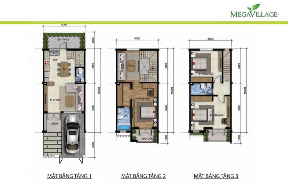 thiết kế nhà phố mega village