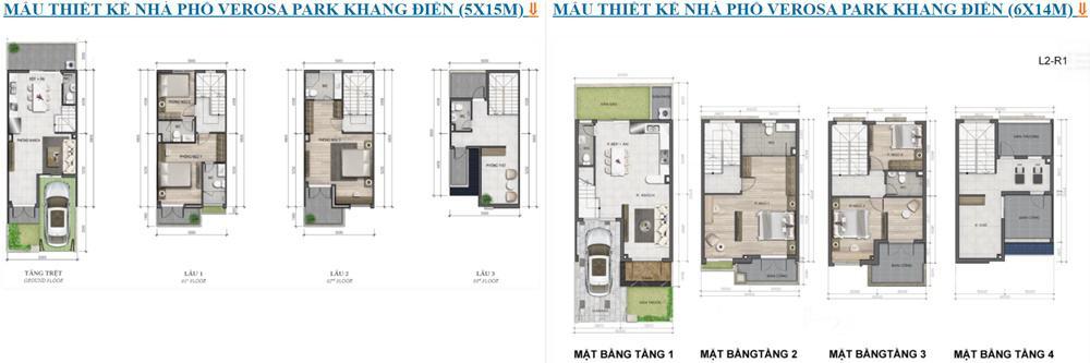 thiết kế nhà phố verosa khang điền