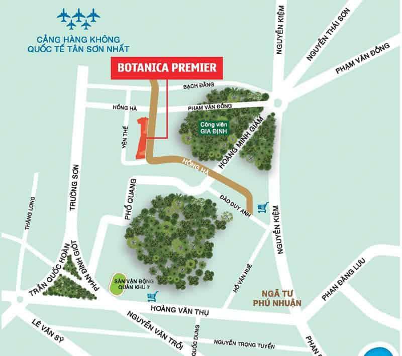 vị trí căn hộ botanica premier hồng hà