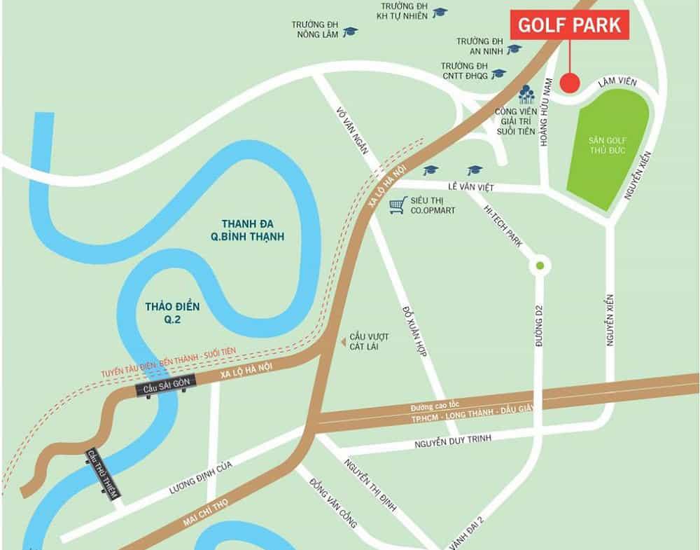 vị trí golf park quận 9